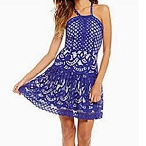 Gianni Bini Blue Lace Drop Waist Halter Dress.